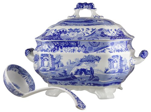 Large Tureen - Spode 783931401145 Blue Italian Soup Tureen and Ladle Set, White