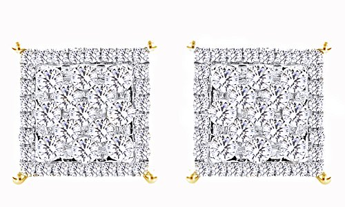 14K Solid Gold White Natural Diamond Hip Hop Cluster Stud Earrings (1.68 Cttw) by wishrocks