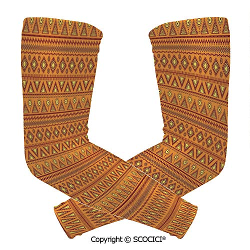 Comfort and Durable Lightweight Arm Guard Sleeve Ethnic Tribal Borders Ornaments Aztec Native American Culture Folk Breathable, Flexible Sleeves Protection ()