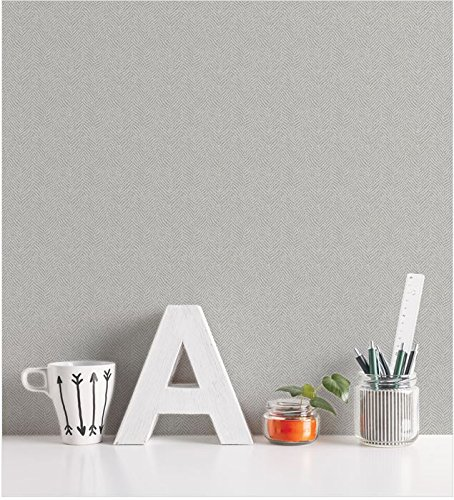 [Peel & Stick Herringbone Gray Contact Paper Self-Adhesive Removable Wallpaper 11530 : 1.64 feet X 8.20 feet] (Gray Stick)