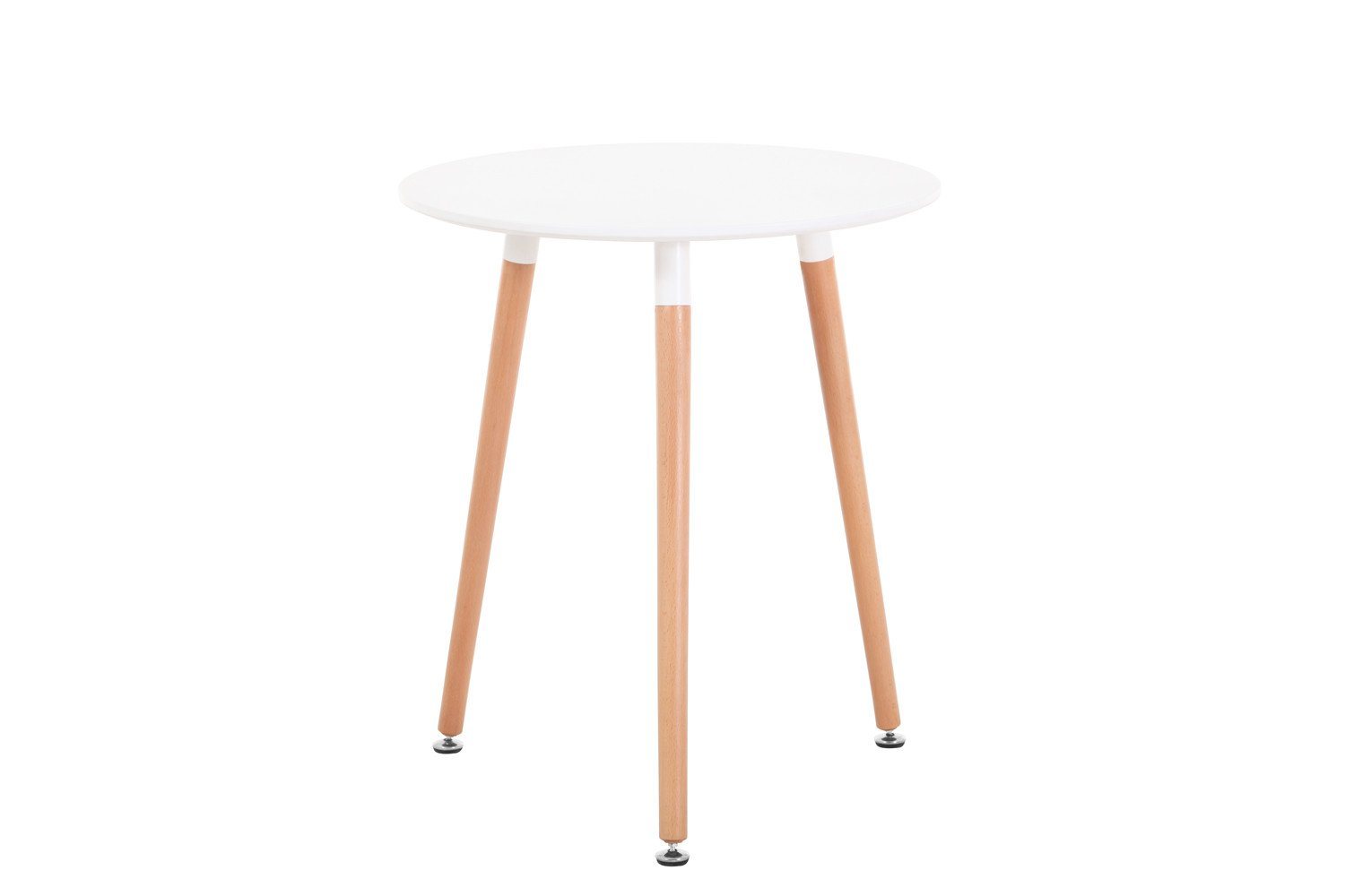 Creation Yusheng Modern Eames Style Circular Dining Table, living room table with Wooden Legs, White