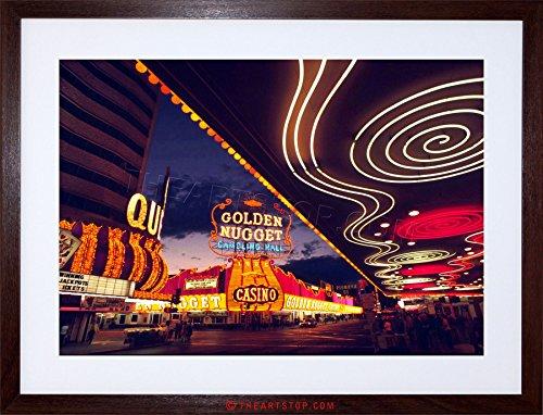 PHOTO CITYSCAPE LAS VEGAS NEON NEVADA CASINO FRAMED PRINT F97X2942 (Neon-rahmen)