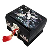 Mother of Pearl Music Jewelry Box with Crane Design