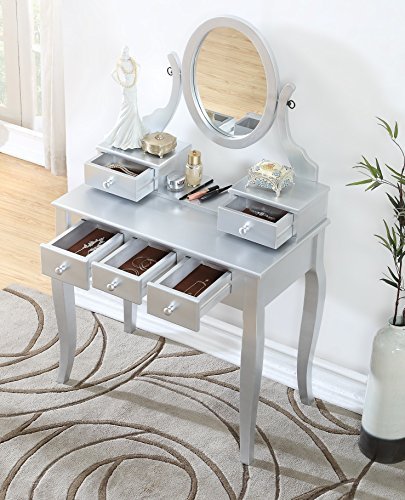 Roundhill Furniture 3418SL Ashley Silver Wood Makeup Vanity Table and Stool Set, Sliver