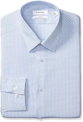 Calvin Klein Men's Dress Shirts Non Iron Slim Fit Stretch Check, Blue Bird, 16.5