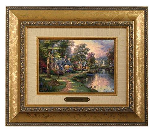 Thomas Kinkade Hometown Lake Brushwork (Gold Frame)
