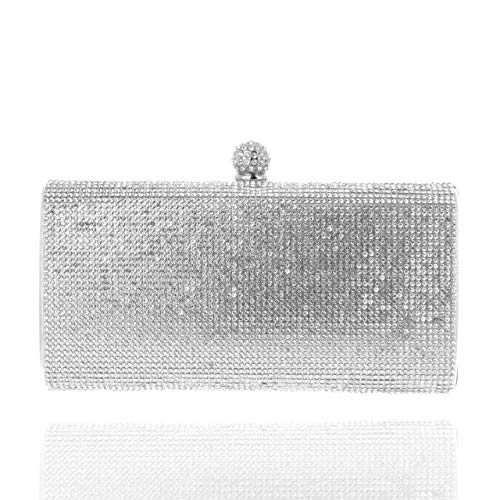 Purse Handbag Jeweled - SP SOPHIA COLLECTION Elegant Rectangle Rhinestone Crystal Hand Clutch Evening Bag for Parties in Silver