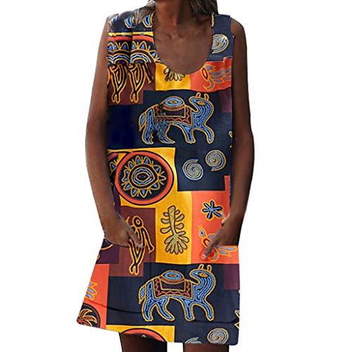 URIBAKE 2019 Women Fashion O Neck Vintage Skirt Bohemian Print Sleeveless Zipper Pocket Summer Dresses Yellow