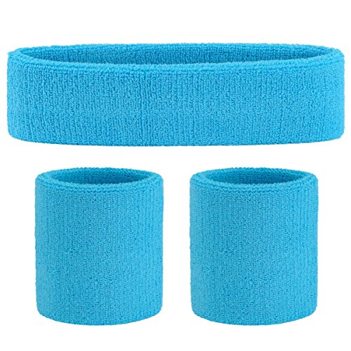 OnUpgo Sweatband Set Sports Headband Wrist Striped Sweatbands Terry Cloth Wristband Athletic Exercise Basketball Wrist Sweatband and Headbands Moisture Wicking Sweat Absorbing Head ()