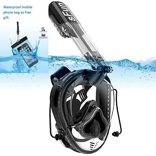 SFUN Snorkeling Mask Full Face Snorkel Mask Anti-Fog Panoramic Snorkel Mask for Scuba Diving Snorkeling (Black) (Best Place For Deep Sea Diving)