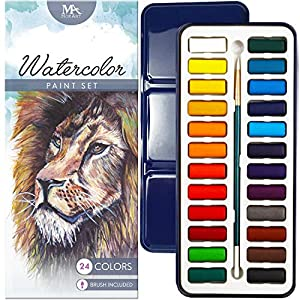 MozArt Supplies Watercolor Paint Essential Set – 24 Vibrant Colors – Lightweight and Portable – Perfect for Budding Hobbyists and Professional Artists – Paintbrush Included