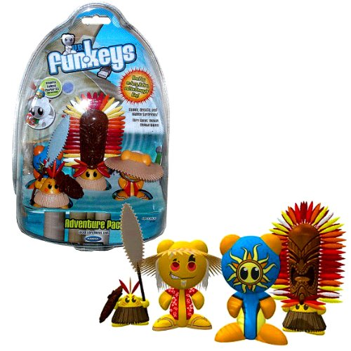Mattel Year 2008 Radica Exclusive U.B. Funkeys Adventure 4 Pack Set (N7352) with Jerry, Native, Sol and Pineapple King Figures (Require Starter Kit, Sold Separately)