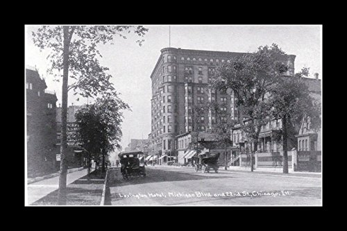 8 x 10 All Wood Framed Photo The Lexington Hotel, Michigan Ave And 22nd, 1920, - Michigan Ave Stores