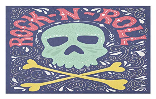 (Lunarable Rock and Roll Doormat, Skull with Crossed Bones and Typography Musical Halloween Theme Tribal Doodle, Decorative Polyester Floor Mat with Non-Skid Backing, 30 W X 18 L Inches,)