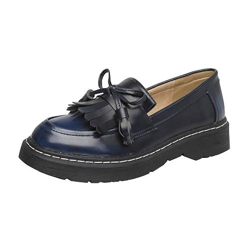 SXSHUN Mocasines Loafer para Niñas y Mujer Zapatos de Cuero Sintético para Uniforme Escolar Talla Grande (34-43 EU): Amazon.es: Zapatos y complementos