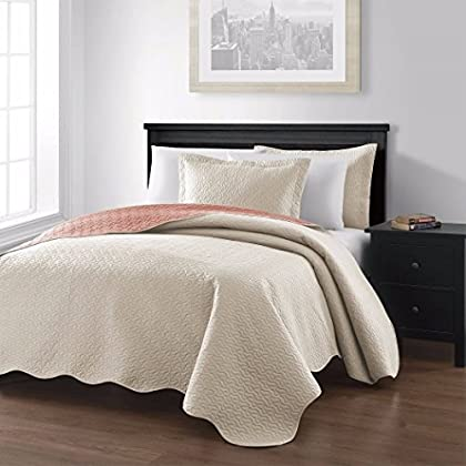 Image of Collection Mesa 3-piece Oversized Reversible Coverlet Bedspread King/Ivory/Salmon Colors Home and Kitchen