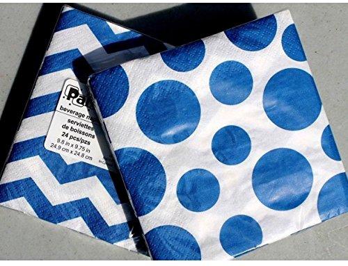 Party! 2 Sets of 24 ea Cocktail Beverage Paper Napkins - Polka-Dot Chevron Blue -