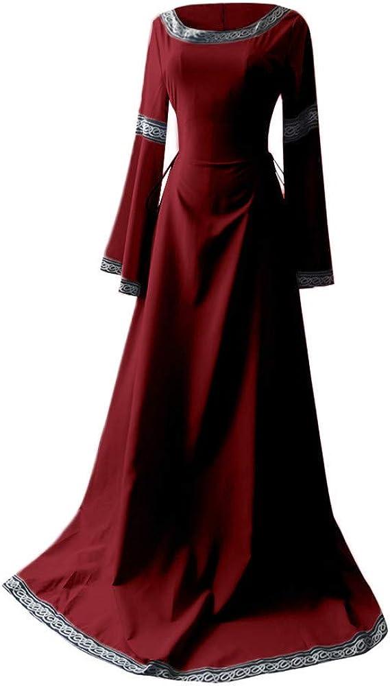 Peize Women Medieval Dress,Ladies Renaissance Fit Irregular Long Sleeve Cosplay Maxi Dress