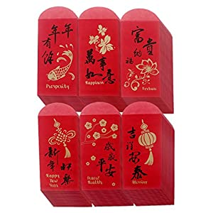 Chinese New Year Red Envelopes - Chinese Red Packets Hong Bao Gift Money Envelopes 6 Designs 120-Pack, 3.5 x 6.9 Inches