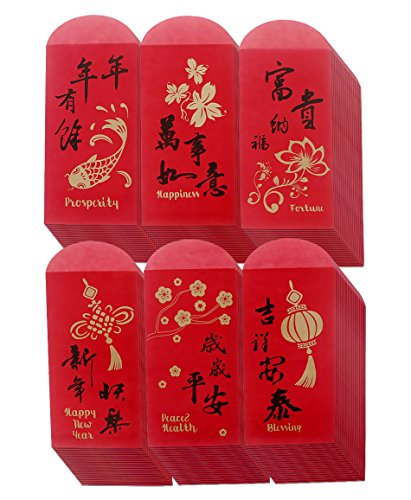Chinese New Year Red Envelopes - Chinese Red Packets Hong Bao Gift Money Envelopes 6 Designs 120-Pack, 3.5 x 6.9 Inches -