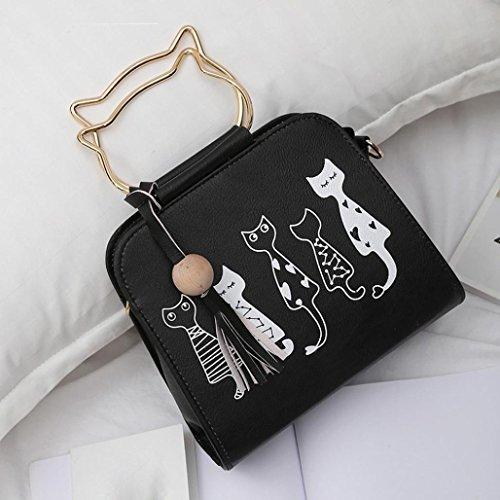 Pompon Impression noir Sac Fille Femmes Lapin Des Sacs Messager Noir Femme Main De À Animaux Bandoulière Motif Chat AwgqUx