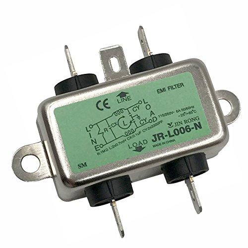 Noise Suppressor Power EMI Filter Termianl Single-Phase Line-Conditioner JREle AC 115/250V 6A JR-L006-N ()