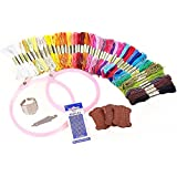 45 Skeins of 8m Multi-color Soft Cotton Cross Stitch Embroidery Threads Floss Sewing Threads Tool Kit