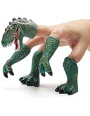 CreepyParty Dinosaurus Vinger Handpop Handi Dino T-rex Puppets Dierlijke Raptor Vingerspeelgoed voor Kinderen (Groen)