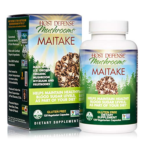Host Defense, Maitake Capsules, Promotes Normal Blood Sugar Metabolism Already Within The Normal Range, Daily Mushroom Supplement, Vegan, Organic, Gluten Free, 120 Capsules (60 Servings)