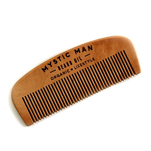 Mystic Man Handmade Wooden Beard Comb  Fine Tooth Detangling Tool