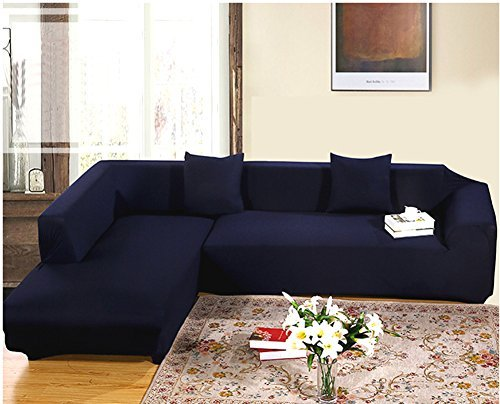 Getmorebeauty Navy Protector Sofa Loveseat Chair Couch Slipcovers (L Shape 2+3 seats) : l shaped sectional slipcovers - Sectionals, Sofas & Couches