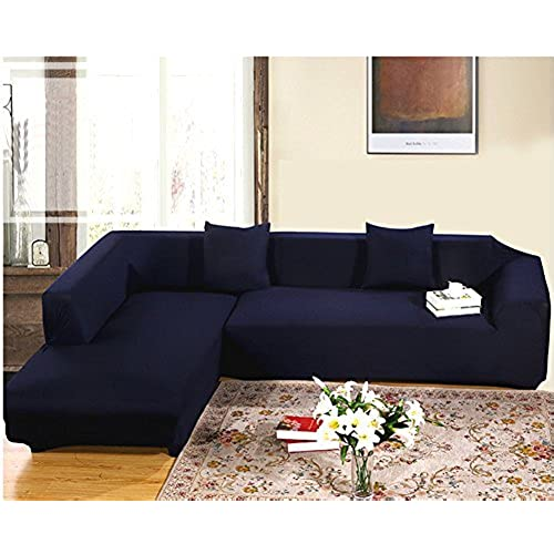 Getmorebeauty Navy Protector Sofa Loveseat Chair Couch Slipcovers (L Shape  2+3 Seats)
