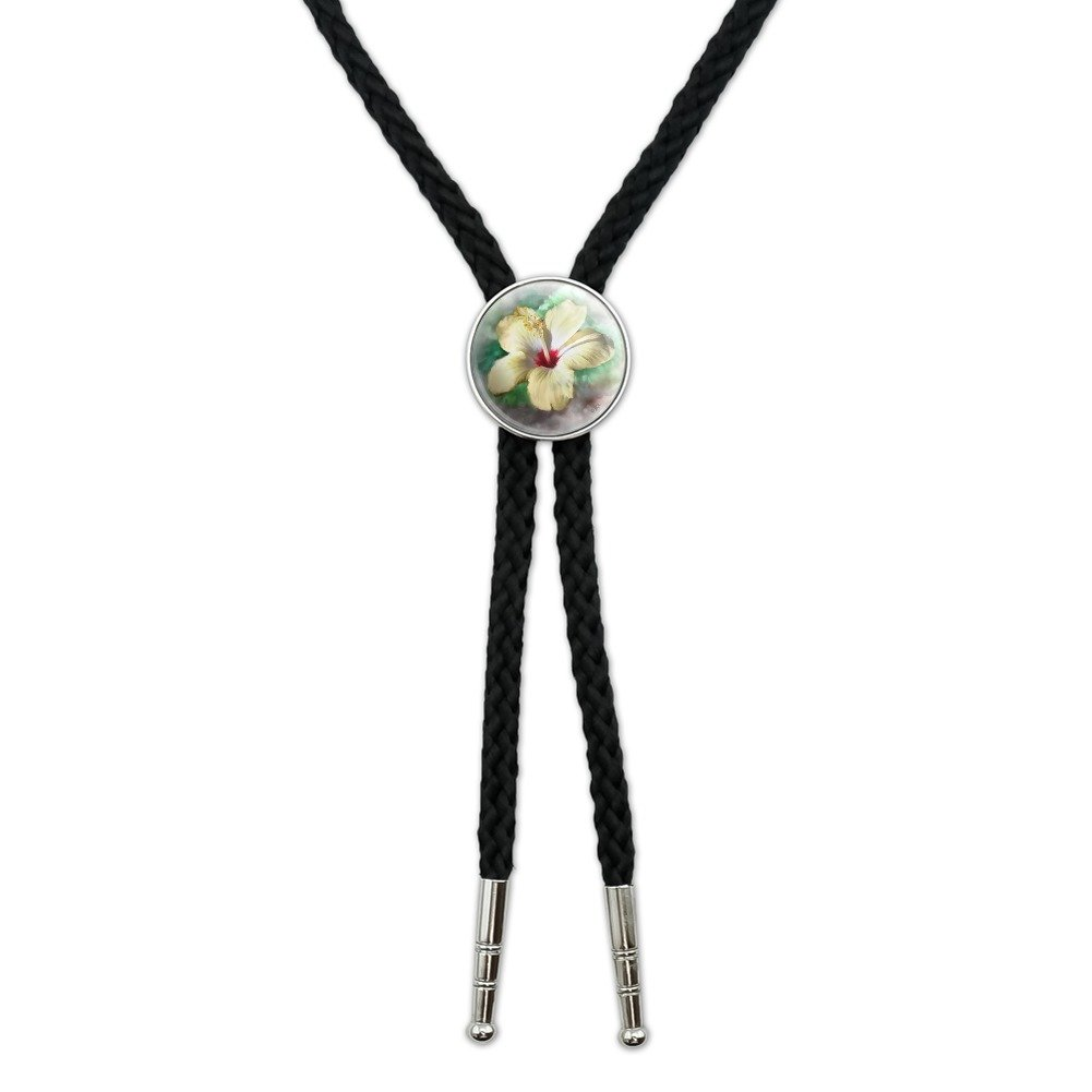 Tropical Yellow Hibiscus Flower Hawaiian Vacation Western Southwest Cowboy Necktie Bow Bolo Tie