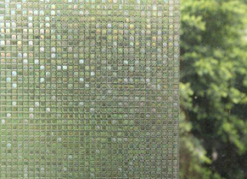 Bloss Premium No-Glue 3D Static Decorative Privacy Window Films 17.7-Inch by 6.56-Feet - Film Hurricane Window