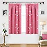 Deconovo Super Soft Thermal Insulated Pencil Pleat Star Printed Blackout Curtains for Children with Two Matching Tie Backs 46 x 54 Inch Pink 2 Panels