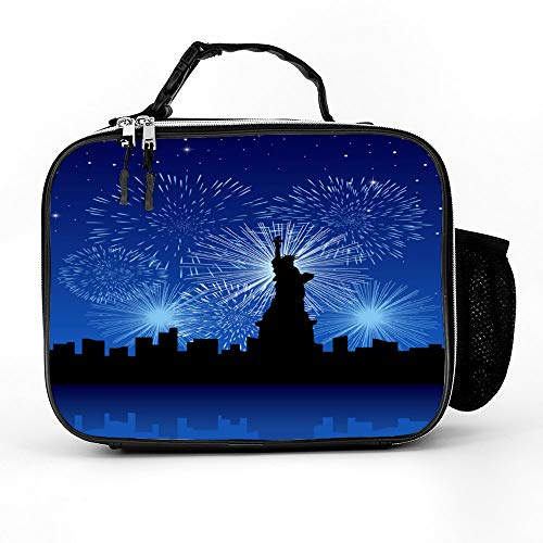 Welkoom Lunch Bag With New York City With Fireworks Spacious Insulated School Lunch Box|Durable Thermal Lunch Cooler Pack With Strap For Boys Men Women Girls