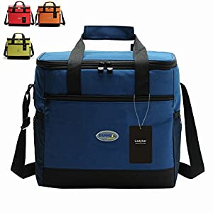 Large Insulated Lunch Bag, Picnic Bag, Ladyker Lunch Cooler Tote Bag with Front Pocket,Sides Pockets,Adjustable Shoulder Strap,Handle Strap and Zipper for Women Men Kids Outdoor Work School Large from Ladyker