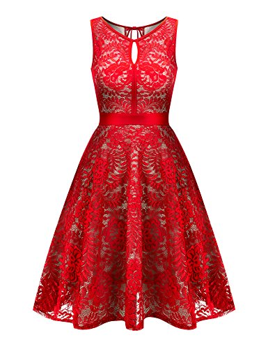 Uniboutique Women's Floral Lace Sleeveless Elastic Waist Pleated Swing Dress Red S -