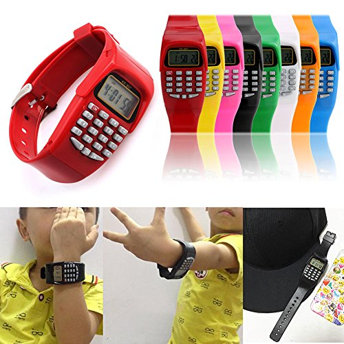 Smart-Uni Multifunction Calculator WristwatchLED Silicone Sports watch for Kids Children(Yellow)