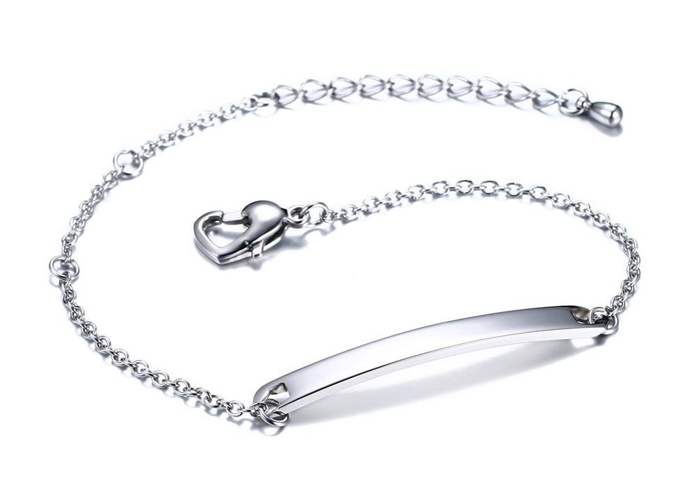 Free Engraving- Personalized Stainless Steel Thin Tag Name Initial Monogram Bar Bracelets for Women Girls