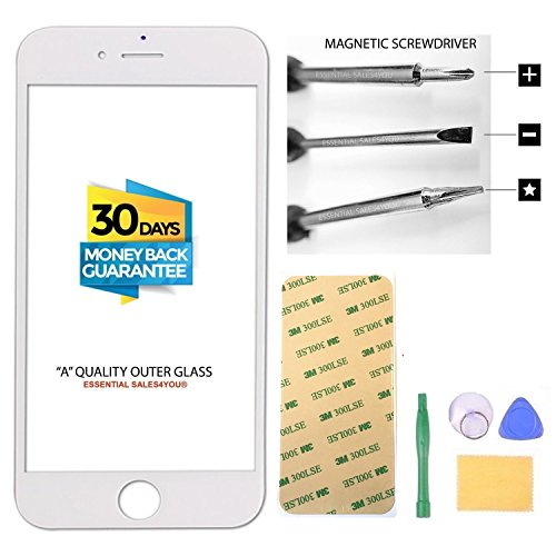 Apple iPhone 6 6S PLUS 5.5' inch Front Outer Screen Glass Lens Replacement Parts Tool + Repair Kit Tools to open and Replace Lcd Digitizer Cellular Part + 3M Tape ( WHITE )