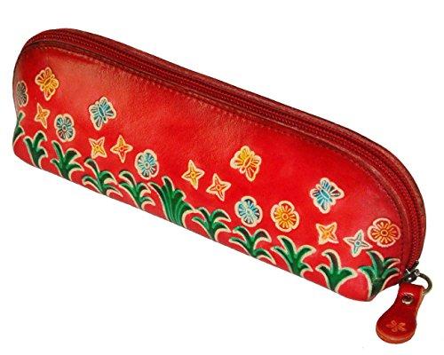 Eyeglass Case Butterflies (Genuine Leather Cosmetics Bag,Eyeglass/pencil Case,Butterflies & Flowers Pattern (Red))