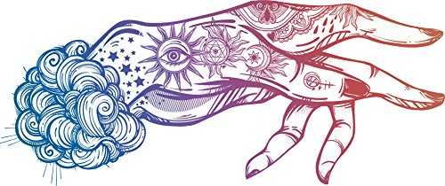 Pretty Tattoo Magic Witch Craft Boho Hand Art - Rainbow Ombre Vinyl Decal Sticker (2