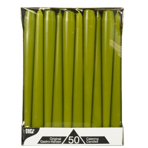 2,2 x 25 cm 50 pz CARTONE Star candeliere candele verde oliva