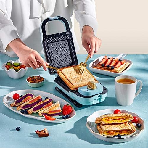 Zidao Sandwich Maker artefact Machine Petit-déjeuner Machine à Pain Maison lumière Nourriture Machine Multifonction Waffle Pain toasteur conducteur,Bleu