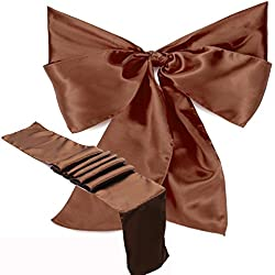 Elina Home Brown Satin 1 Table Runner & 5 Combo of TableRunner & Chair Bow Sash for Wedding