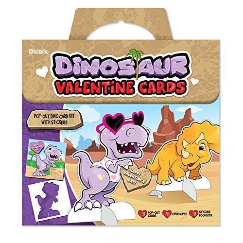 Kangaroo's Dinosaur Valentines Day Cards; 28 Kids Valentine's with Dinosaur Stickers