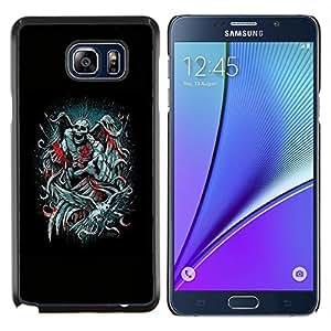 LECELL--Funda protectora / Cubierta / Piel For Samsung Galaxy Note 5 5th N9200 -- Ángel de la Muerte Negro Trono Rey Diablo --
