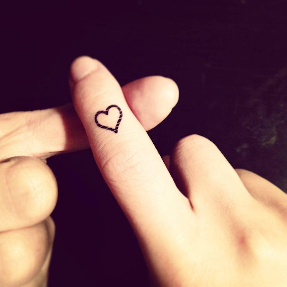 Tatuaje Temporal de Pequeño esquema del corazón (4 Piezas) - www ...