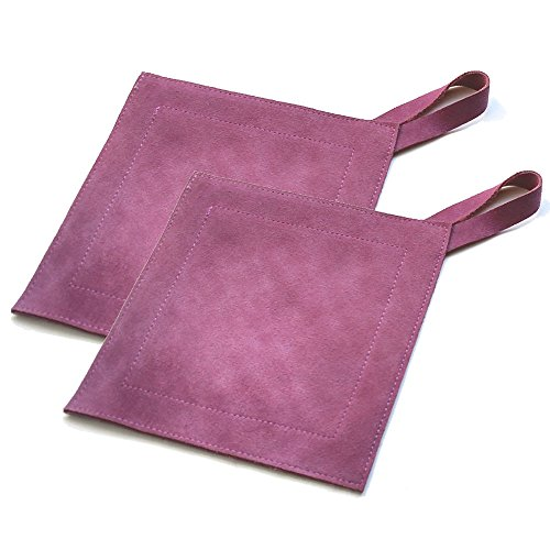 All Purpose Leather Suede Hot Pads For Use As Trivet, Hotpad, and Pot Holder. Eggplant, Set of 2 (Where To Buy Candles)